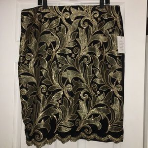 Eloquii gold black metallic skirt